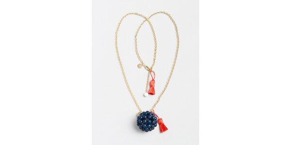 Dámský zlatý náhrdelník s modrým přívěskem Pietro Filipi