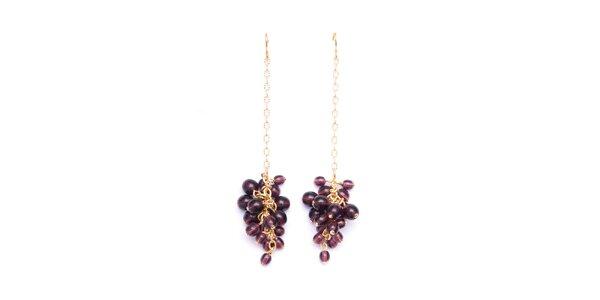 Dámské náušnice s fialovými korálky Pietro Filipi