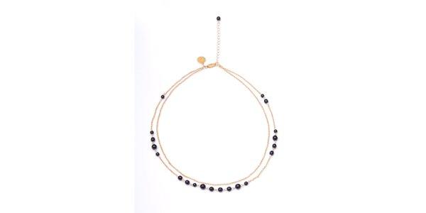 Dámský dvouřadý náhrdelník s tmavými korálky Pietro Filipi
