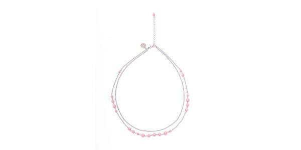 Dámský dvouřadý náhrdelník s růžovými korálky Pietro Filipi
