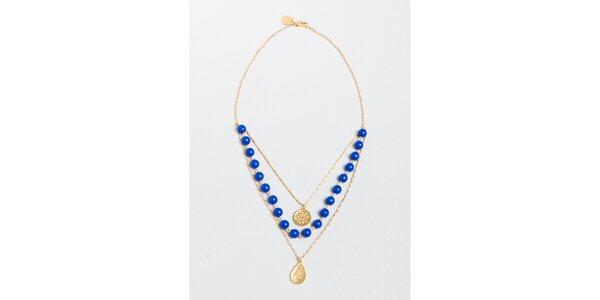 Dámský náhrdelník s modrými korálky a přívěsky Pietro Filipi