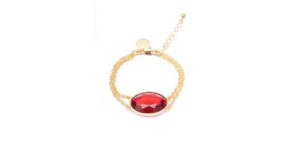 Dámský zlatý náramek s červeným oválným kamínkem Pietro Filipi
