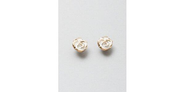 Dámské zlato-bílé růžičkové náušnice Pietro Filipi