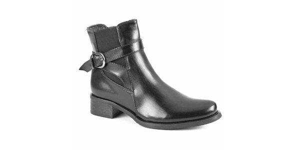 Dámské černé chelsea boty s přezkou City Shoes