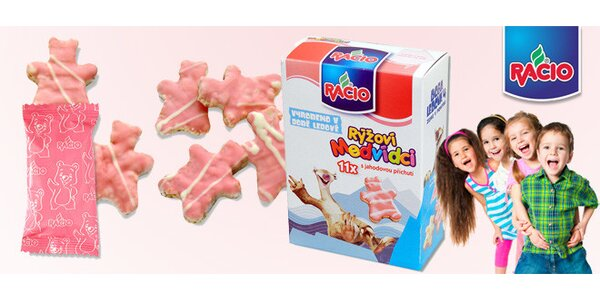16 balení rýžových medvídků Racio s jahodovou polevou