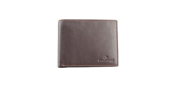 Hnědá prošívaná kožená peněženka Brooksfield