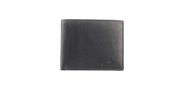 Černá prošívaná kožená peněženka Brooksfield