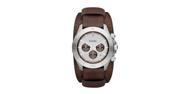 Pánské analogové hodinky s hnědým páskem a chronografem Fossil