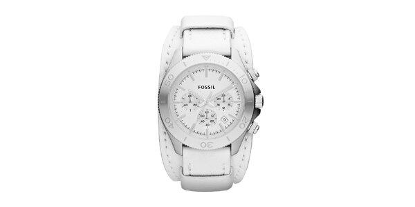 Dámské bílé hodinky Fossil s chronografem