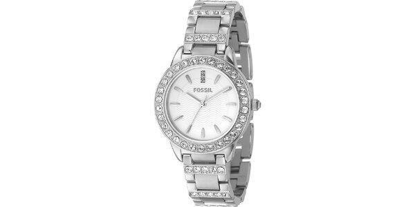 Dámské stříbrné analogové hodinky se zirkony Fossil