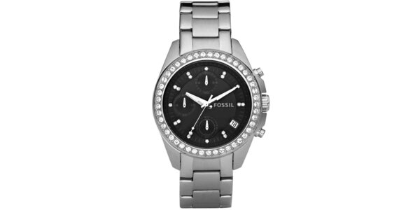 Dámské stříbrné hodinky se zirkony Fossil