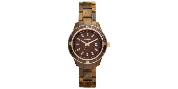 Dámské jantarovo-hnědé hodinky se zirkony Fossil
