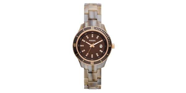 Dámské béžovo-hnědé hodinky se zirkony Fossil