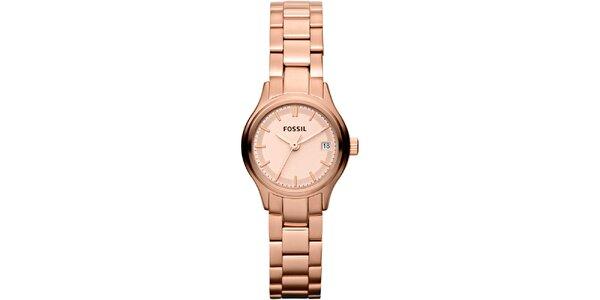 Dámské růžovo-zlaté analogové hodinky Fossil