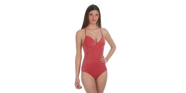 Dámské červené jednodílné plavky s lurexovým vláknem Cristian Lay
