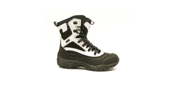Dámské černo-bílé vysoké zimní boty Numero Uno