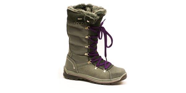 Dámské vysoké šedé šněrovací boty Numero Uno