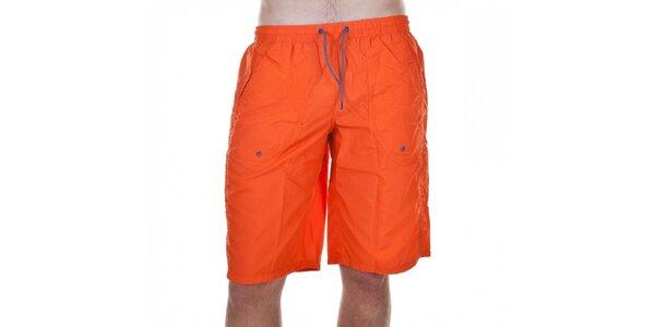 Pánské oranžové koupací šortky Emporio Armani