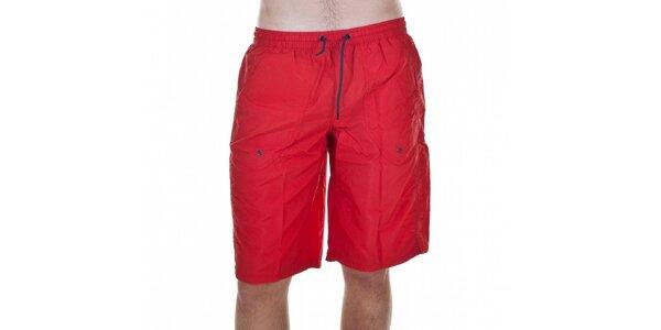 Pánské červené koupací šortky Emporio Armani