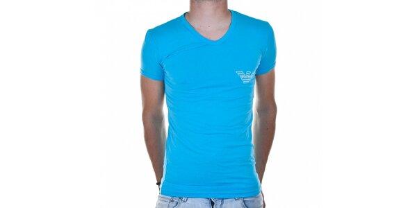 Pánské azurově modré tričko Emporio Armani s potiskem