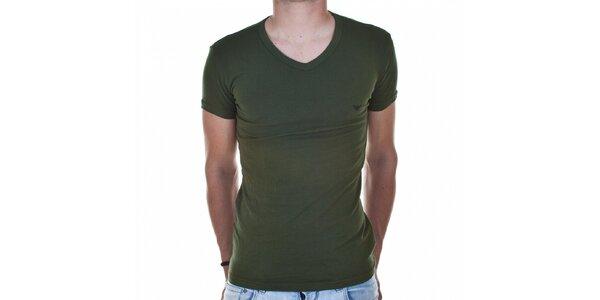Pánské tmavě zelené tričko Emporio Armani s potiskem