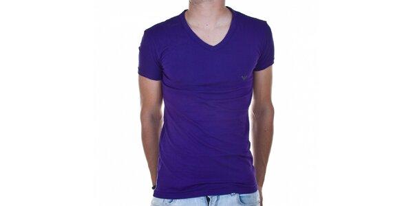 Pánské fialové tričko Emporio Armani s potiskem