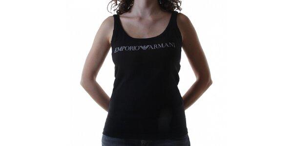 Dámský černý bavlněný top Emporio Armani