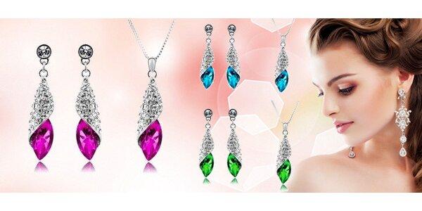 Sada náhrdelníku a náušnic s barevnými krystaly