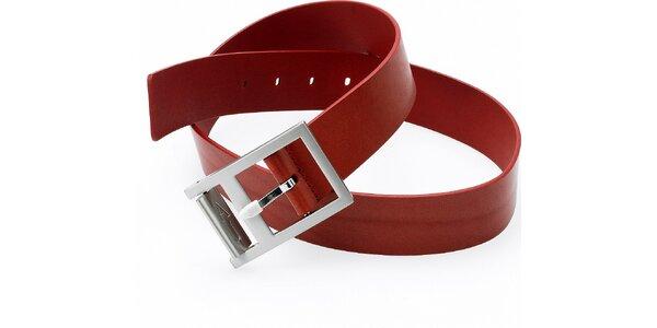 Dámský hnědo-červený kožený pásek Emporio Armani