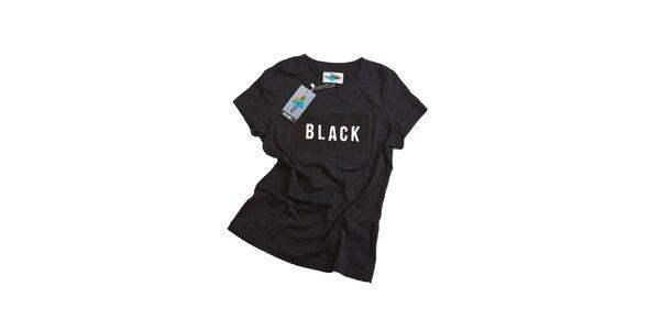 Dámské černé tričko s nápisem Dizzplay