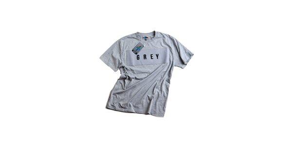 Pánské šedé tričko s nápisem Dizzplay