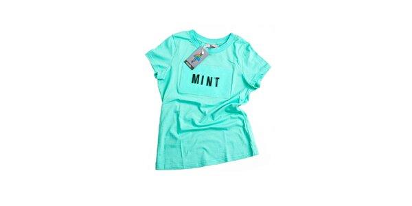 Dámské mátově zelené tričko s nápisem Dizzplay