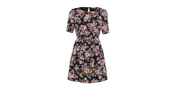 Dámské černé šaty s květinovým potiskem Yumi