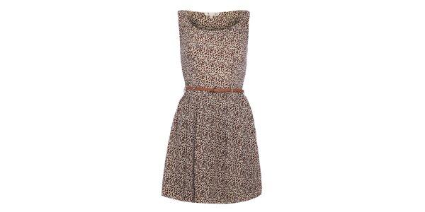 Dámské hnědé šaty s jemným vzorem Yumi