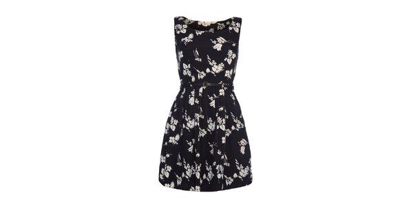 Dámské černé šaty s bílým vzorem Yumi