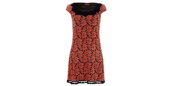 Dámské oranžové krajkové šaty Yumi