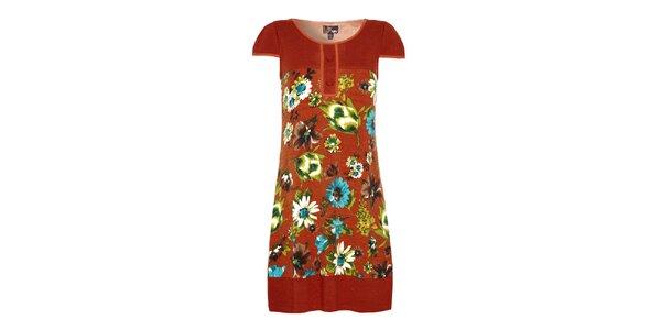 Dámské cihlově oranžové šaty s květinami Yumi