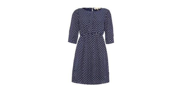 Dámské modré šaty s puntíky Yumi