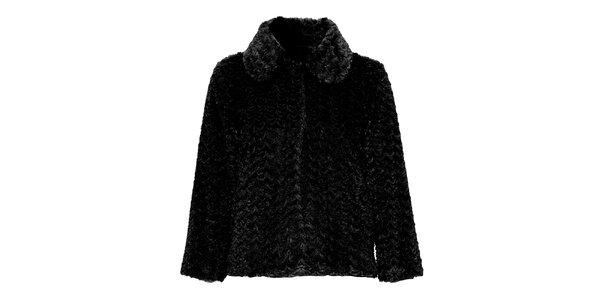 Dámský černý kabátek s umělou kožešinkou Yumi