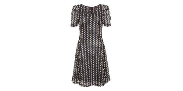 Dámské černo-bílé šaty s nabíranými rukávky Yumi