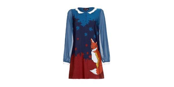 Dámské modré šaty s liškou Yumi