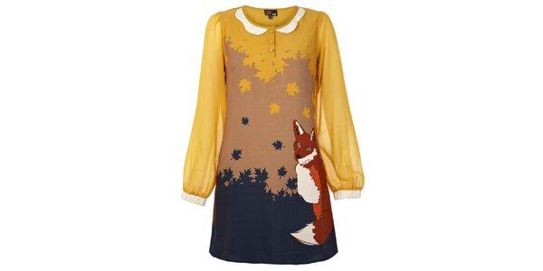 Dámské žluté šaty s liškou Yumi