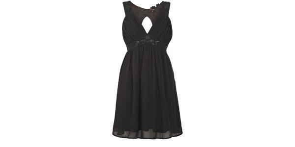 Dámské černé nabírané šaty Yumi