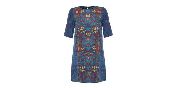 Dámské modré vzorované šaty Yumi