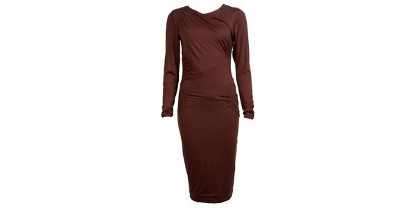 Dámské hnědé šaty s dlouhými rukávy CeMe London