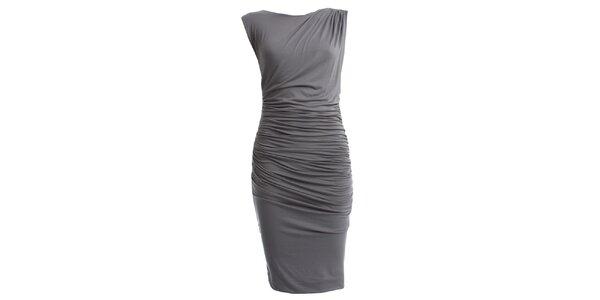 Dámské šedé šaty s nařaseným pasem CeMe London