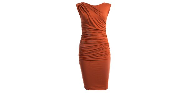 Dámské oranžové šaty s nařaseným pasem CeMe London