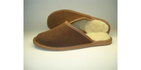 Pánské pantofle leňošivé hnědé