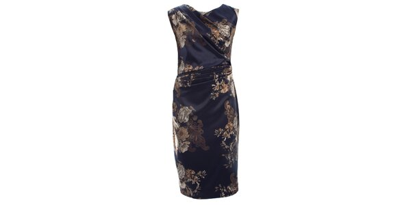 Dámské tmavě modré šaty s květinovým printem CeMe