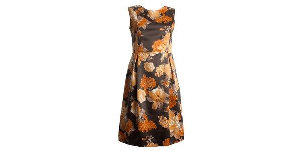 Dámské hnědé šaty s oranžovými květy CeMe London